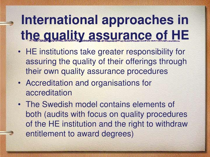 International approaches in the quality assurance of HE
