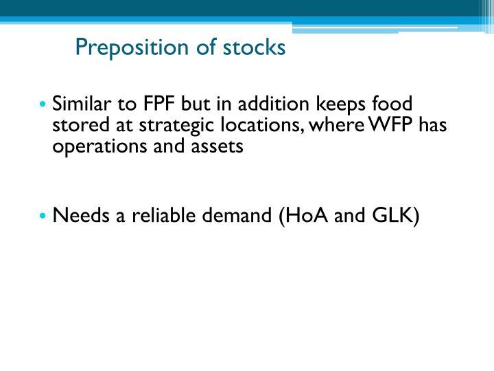 Preposition of stocks
