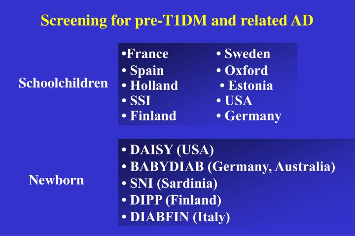 Screening for pre-T1DM and related AD