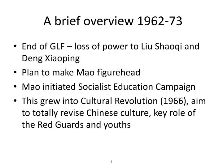 A brief overview 1962 73