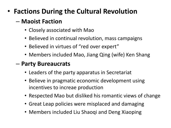 Factions During the Cultural Revolution