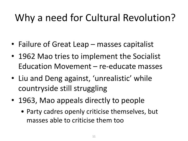 Why a need for Cultural Revolution?