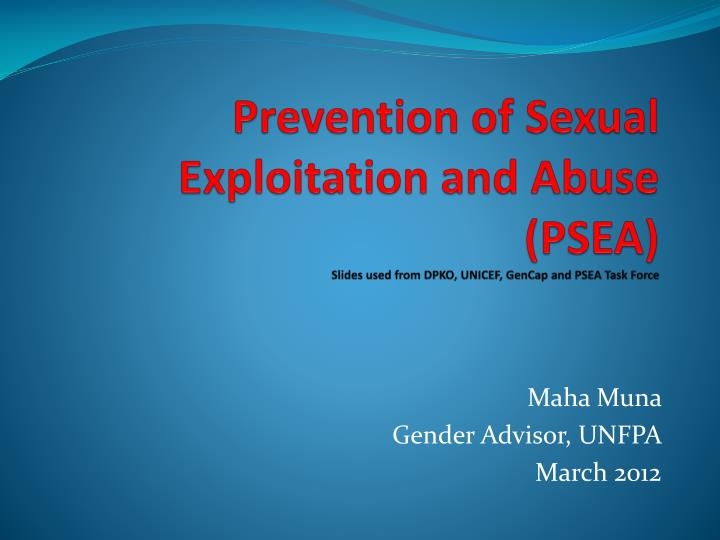 Prevention of Sexual Exploitation and Abuse (PSEA