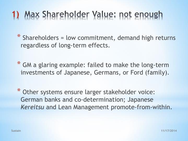 Max shareholder value not enough