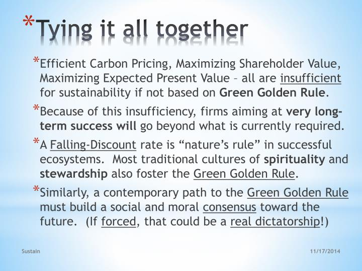 Efficient Carbon Pricing, Maximizing Shareholder Value, Maximizing Expected Present Value – all are