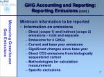 ghg accounting and reporting reporting emissions cont