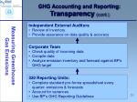 ghg accounting and reporting transparency cont