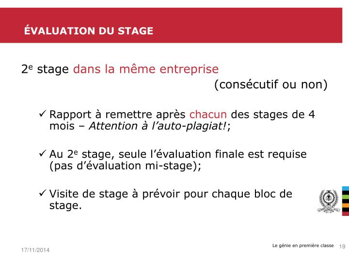 Évaluation du stage