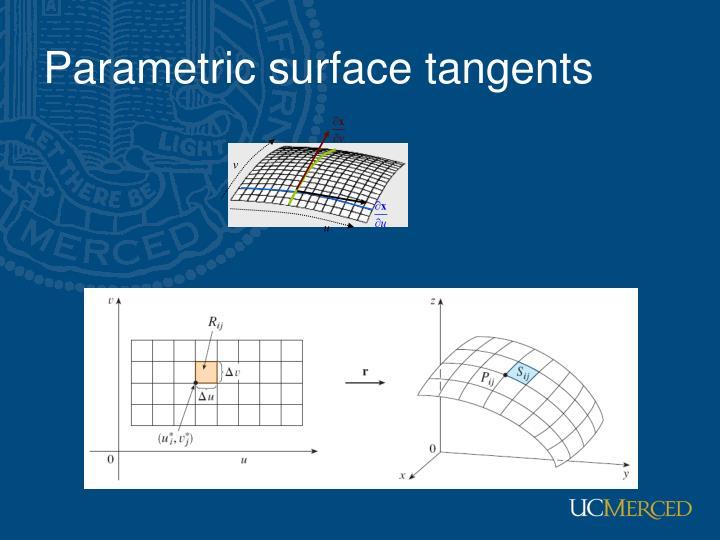 Parametric surface tangents