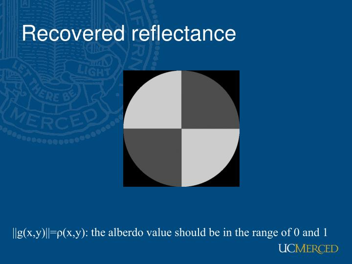 Recovered reflectance