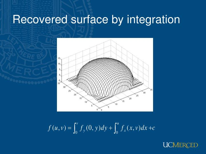 Recovered surface by integration