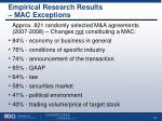 empirical research results mac exceptions