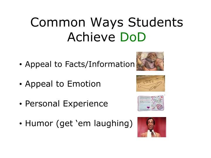 Common Ways Students Achieve