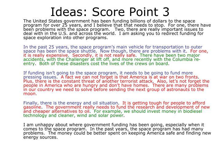 Ideas: Score Point 3