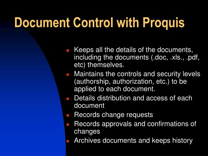Document Control with Proquis