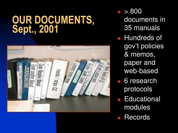 OUR DOCUMENTS, Sept., 2001
