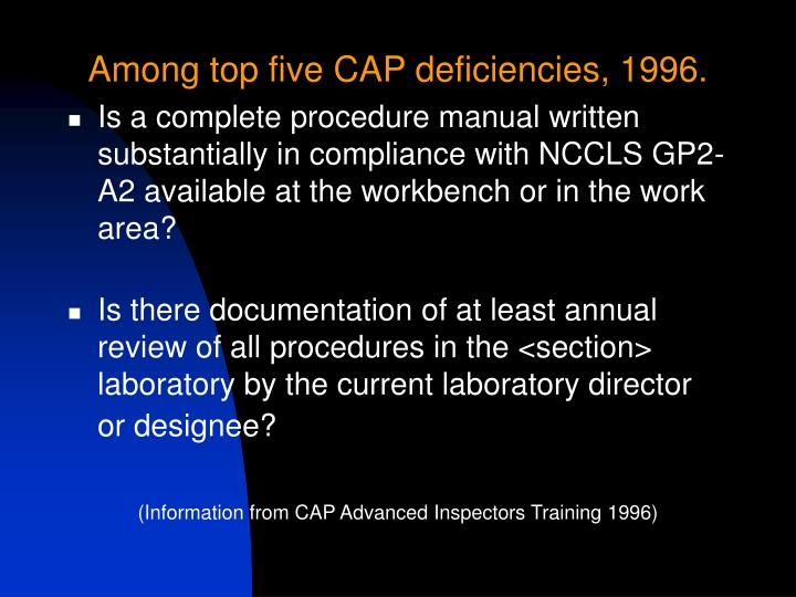 Among top five CAP deficiencies, 1996.