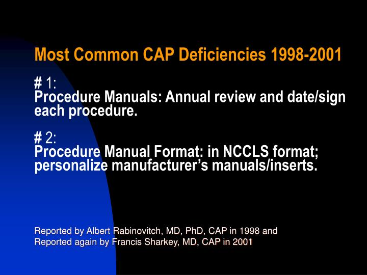 Most Common CAP Deficiencies 1998-2001