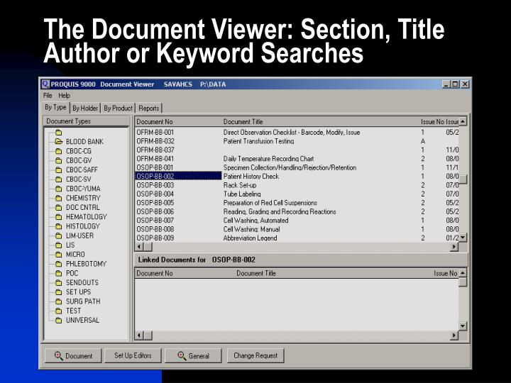 The Document Viewer: Section, Title Author or Keyword Searches