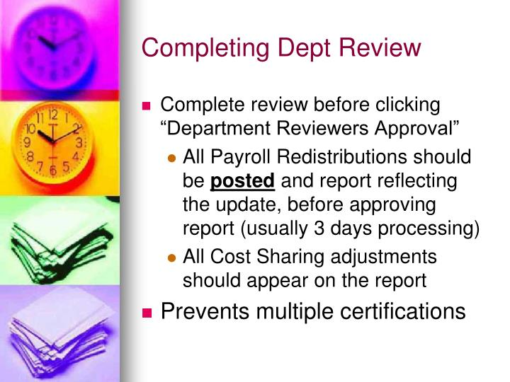 Completing Dept Review