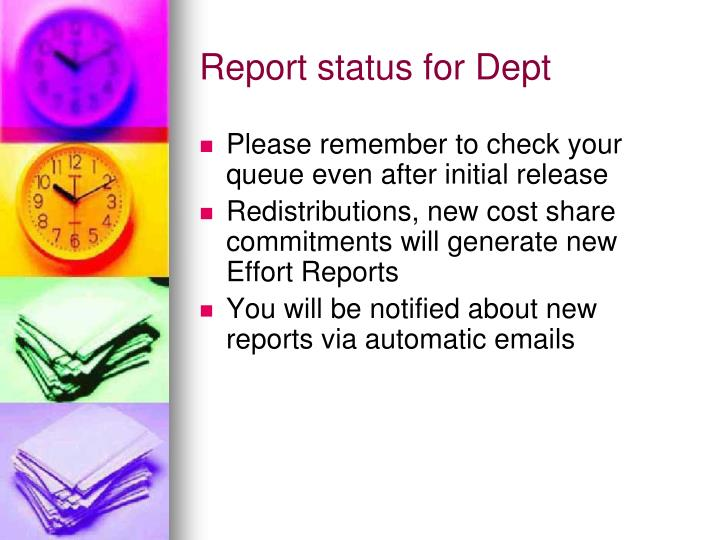 Report status for Dept