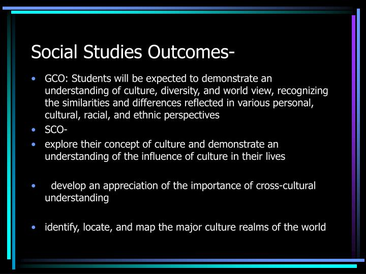 Social Studies Outcomes-