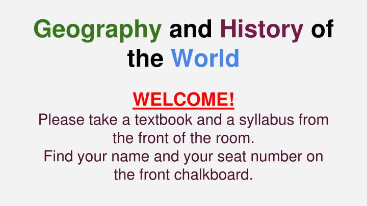geography and history of the world n.