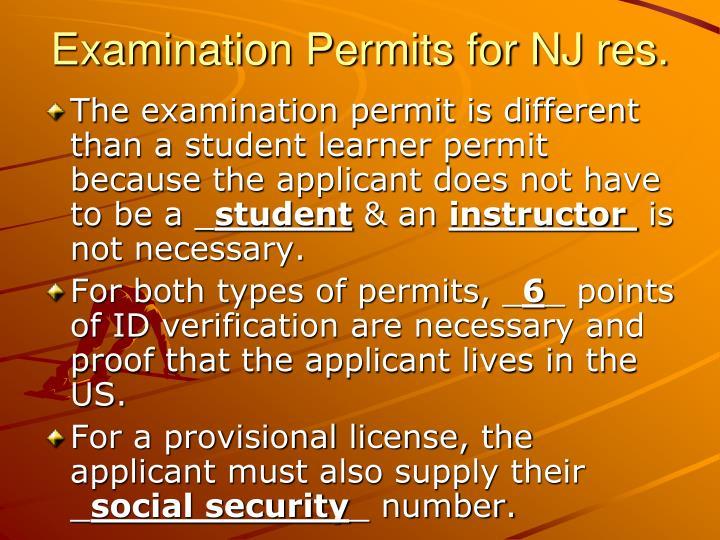 Examination Permits for NJ res.