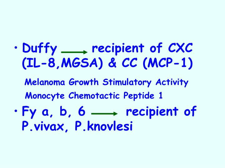 Duffy  recipient of CXC (IL-8,MGSA) & CC (MCP-1)