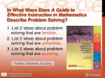 in what ways does a guide to effective instruction in mathematics describe problem solving