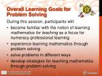 overall learning goals for problem solving