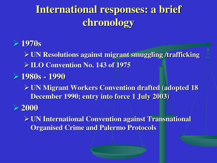 International responses a brief chronology