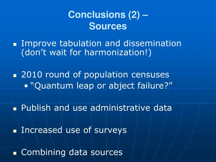 Conclusions (2) –