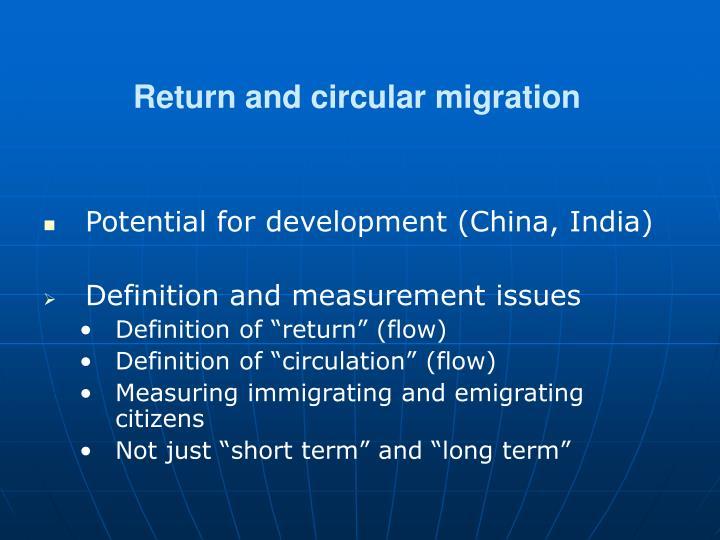 Return and circular migration