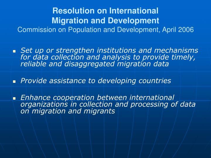 Resolution on International