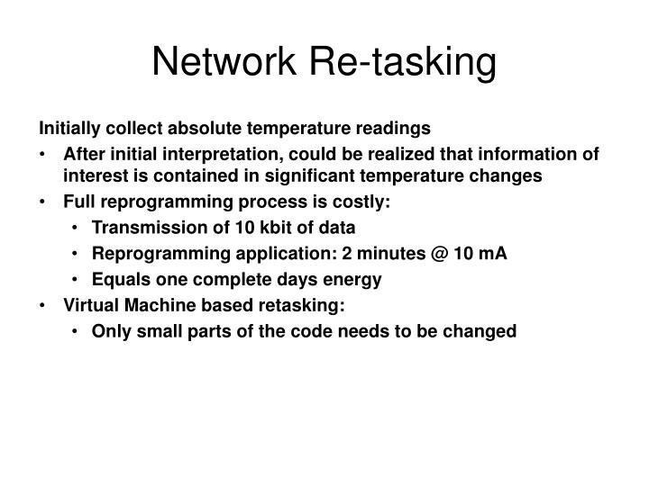 Network Re-tasking