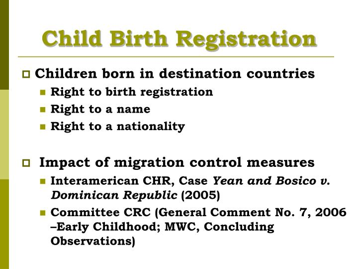 Child Birth Registration