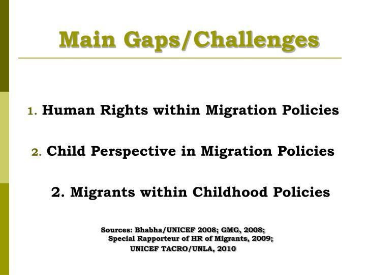 Main gaps challenges