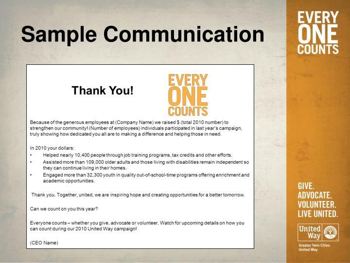 Sample Communication