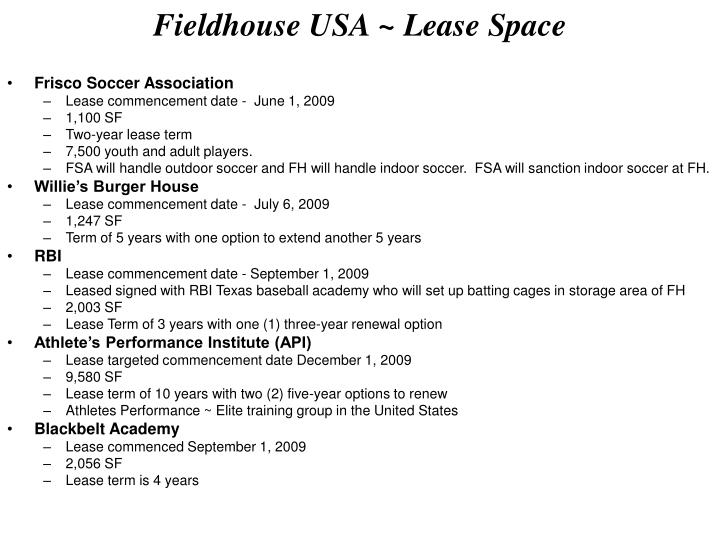 Fieldhouse USA ~ Lease Space