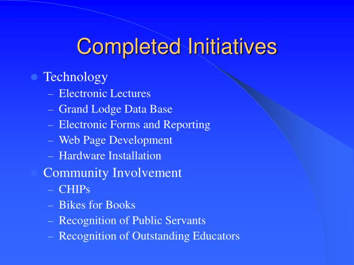 Completed Initiatives