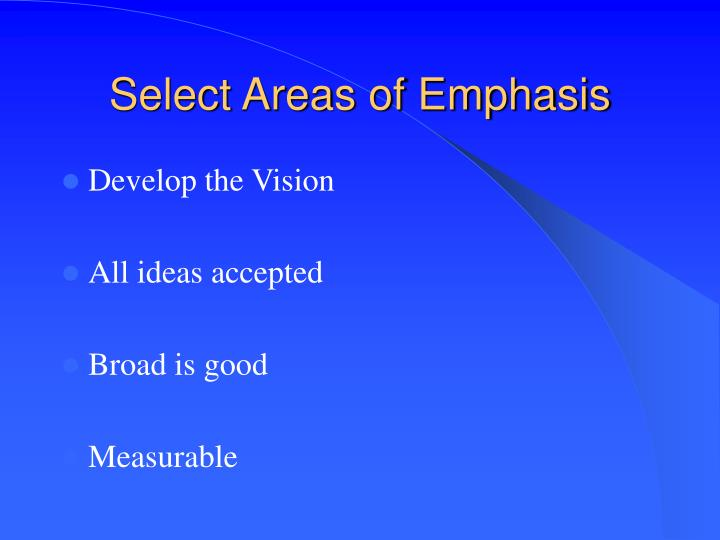 Select Areas of Emphasis