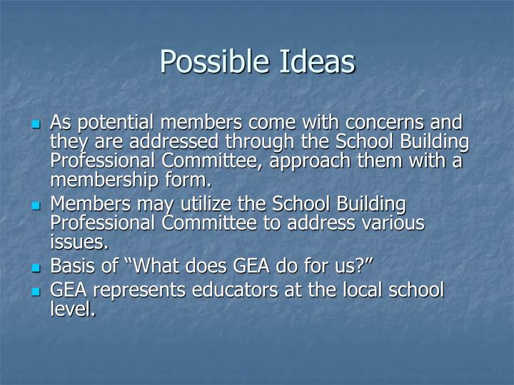 Possible Ideas