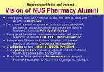 beginning with the end in mind vision of nus pharmacy alumni