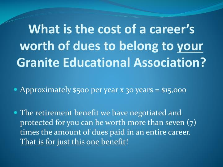 What is the cost of a career's worth of dues to belong to