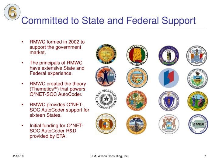 Committed to State and Federal Support