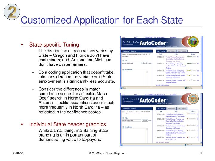 Customized application for each state