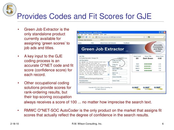 Provides Codes and Fit Scores for GJE