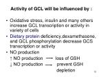 activity of gcl will be influenced by