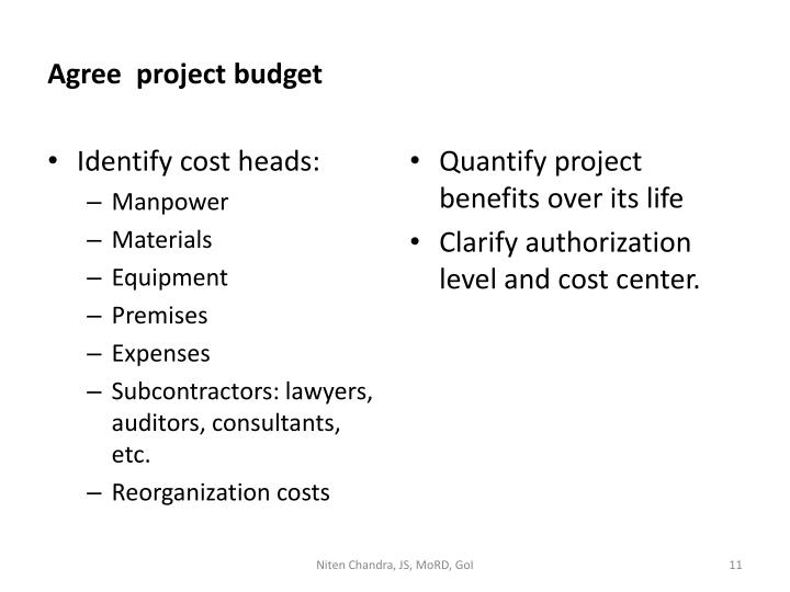 Agree  project budget
